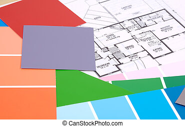 Interior Decorating - Home Plan and Various Paint Chips