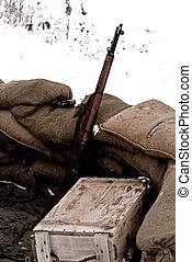 Rifle - rifle, ammunition box and sandbags