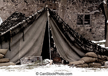 US Army camp - WWII US Army mobile camp in a winter setting