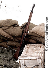 Rifle - rifle, ammunition box and sandbags