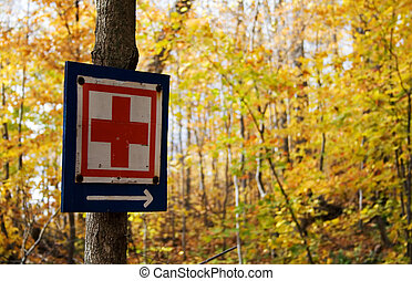 Red cross sign in the middle of the forest