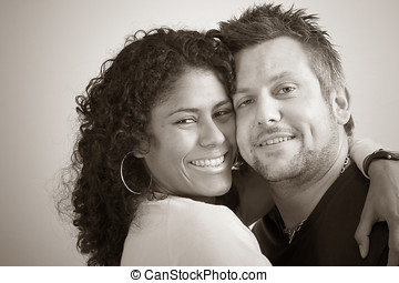 Diverse couple; closeness - Lovely couple close portrait in...