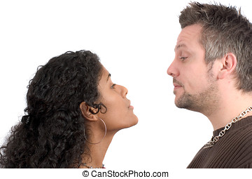 Couple having an argument - Pretty diverse couple having a...