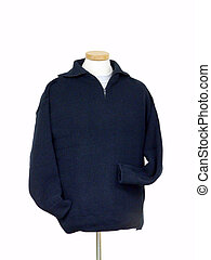Cardigan. - Blue cardigan over white, clipping path...