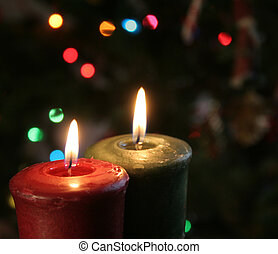 Christmas Candles - Christmas candles set against a...