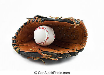 Baseball 5 - Baseball glove and ball on white