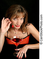 Lady In Red With Cherry 1 - a beautiful woman in red...