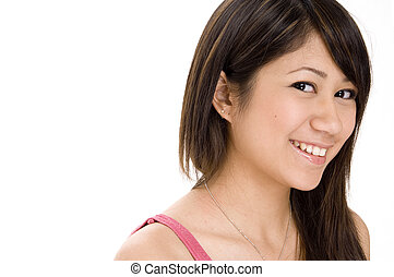 Cute Girl 4 - A cute young woman with a great smile on white...