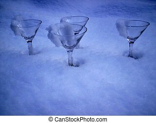 party glass ice snow
