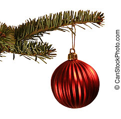 Red Ball Xmas Ornmnt - Red ball christmas ornament hanging...