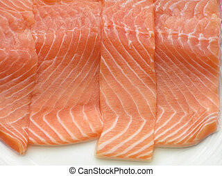 salmon filet - Slices of salmon filet – a close-up