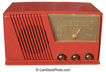 Red retro radio - Classic 1950s set