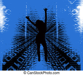 Binary girl - Female silhouette dancing on binary background