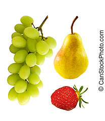 Fruit group - Grapes, pear, strawberry isolated on white