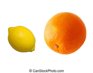 Citruses - Orange and lemon isolated on white