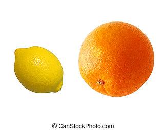 Citruses - Orange and lemon isolated on white