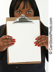 Woman Clipboard - Add text. Beautiful 29 year old African...