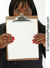Woman Clipboard