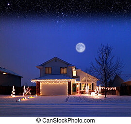 Zero Degrees - Residential home with Christmas lights at...