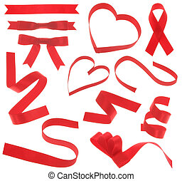 red ribbon design elements isolated on white background