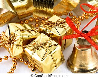 x-mas background - golden presents and bell with ribbon...