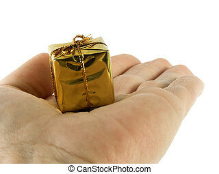 hand and present - hand holding small presents isolated...