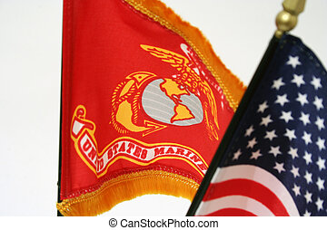 US Proud - USA and marine corps flags