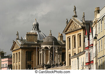Oxford Roofline as viewed from Main street, Magdalen college...