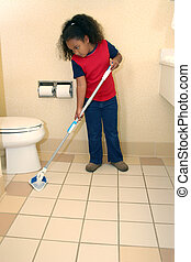 Child Girl Cleaning - Unhappy seven year child cleaning...