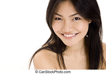 Model 2 - A beautiful young asian woman on white