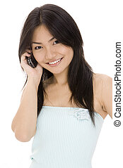 Communicate 2 - A beautiful young asian woman on the phone
