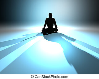 Zen Meditation in a classical Asana. 3D rendered...