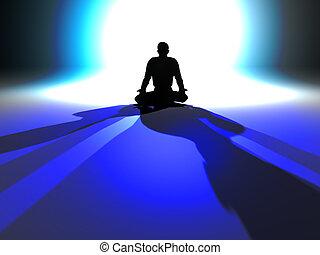 Zen Illumination - Zen Meditation in a classical Asana. 3D...