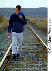 Man on train tracks. - A man coming towards us on train...