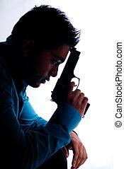 hombre, arma de fuego