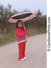 umbrella girl - little girl in red, holding umbrella