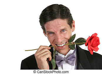 Casanova - A handsome romantic young man with a rose in his...