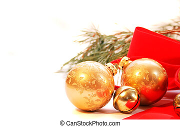 Christmas Decorations - scattered Christmas decorations,...
