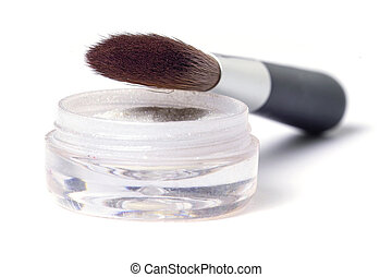 Brush and powder - beauty brush and glittering powder