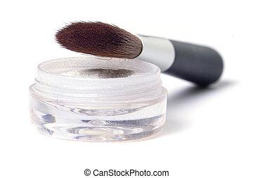 Brush and powder - beauty brush and glittering powder