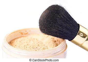 Powder and brush - loose powder and natural hair brush