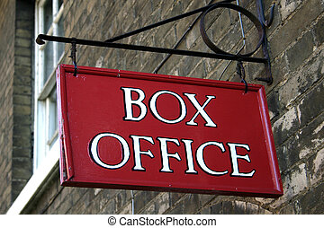 Box Office - Close up of a red painted box office sign board