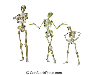 funny skeletons - a group of posed skeletons