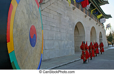 Korean guards - Guards on duty at Gyeongbokgung Palace,...