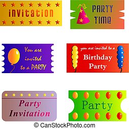 party tickets - invitation cards