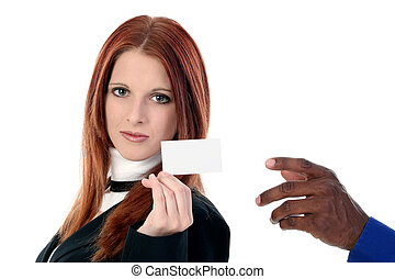 Woman Man Card - Beautiful young businesswoman handing...