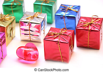 Wrapped Gifts Boxes - Mini gift boxes and a valentines heart