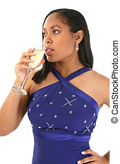Woman Champagne - Beautiful 27 year old African American...
