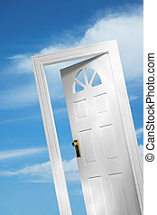 Door 1 of 5 - Door on sky background