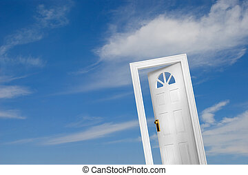 Door 2 of 5 - Door on sky background